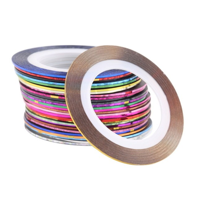Multi Colors Rolls Striping Tape Line Nail Art Tips Decoration Sticker - Por Unidad