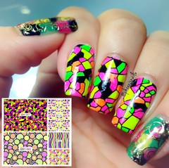1pc Sparkles Water Decals Colorful Space Transfer Decals Nail Art Stickers