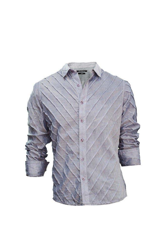 ... Camisa Gris De Vestir De Hombre Con Alforzas Relax Multimarcas en  internet ... 46b0ce0aff26