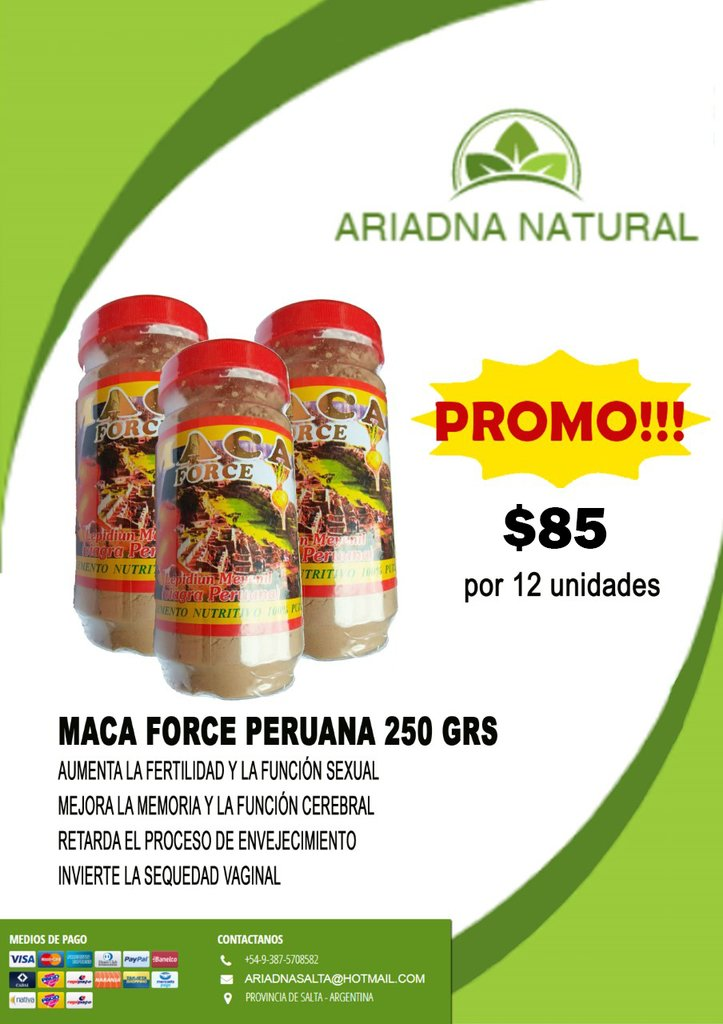12 FRASCOS MACA FORCE 250 GRS