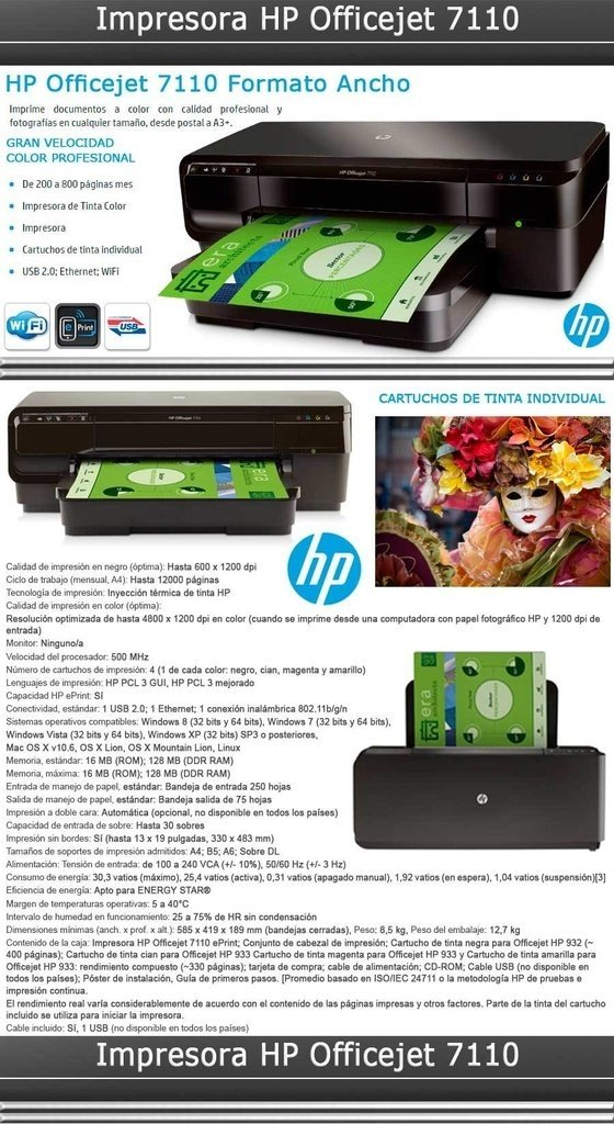 Impresora Hp 7110 Tinta Color A3+ Wifi Usb Cr768a - comprar online