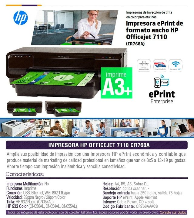 Impresora Hp 7110 Tinta Color A3+ Wifi Usb Cr768a en internet