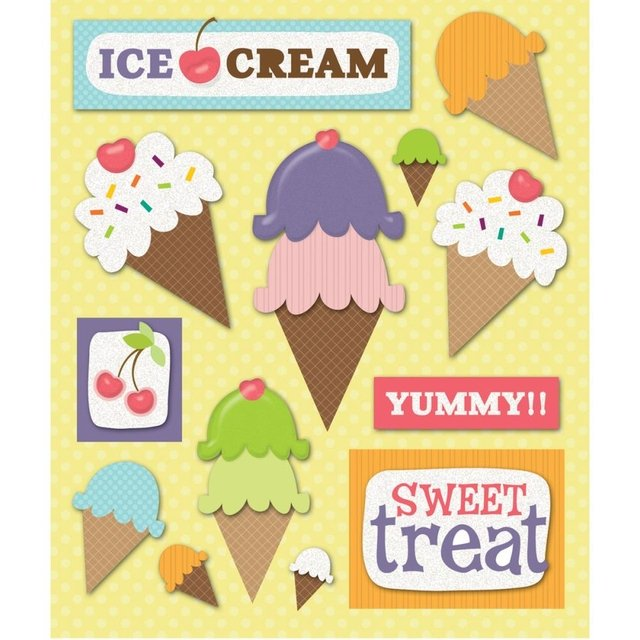Plancha de Stickers Tridimensionales de Ice Cream party K&Company
