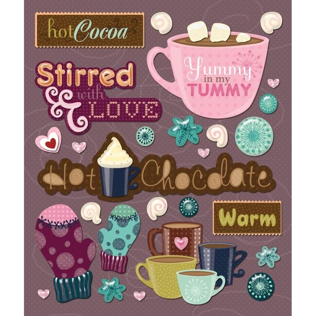 Plancha de Stickers Tridimensionales Hot Chocolate K&Company
