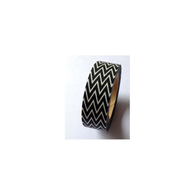 Cinta Decorativa Washi Tape Black Skinny Minnie ZigZag