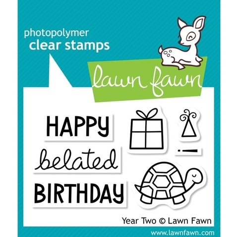 Kit de Troqueladora y Sello Happy Birthday Segundo Año Clear Stamp Lawn Fawn