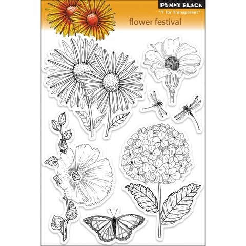 Sello de Flores Flower Festival Clear Stamp Penny Black - comprar online