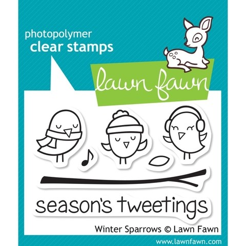 Kit Troqueladora y sello Pajaritos Winter Sparrows Lawn Fawn 7.5 cm x 5 cm