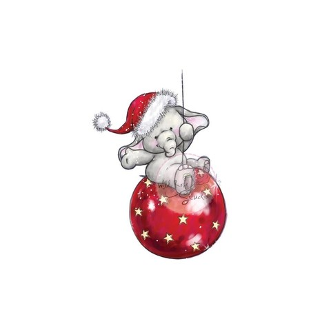Sello De Elefante Navideño Bella On Bauble Wild Rose Studio