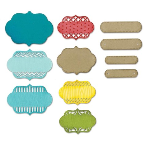 Set de 12 Troqueladoras Ornate Labels Sizzix Thinlits - comprar online