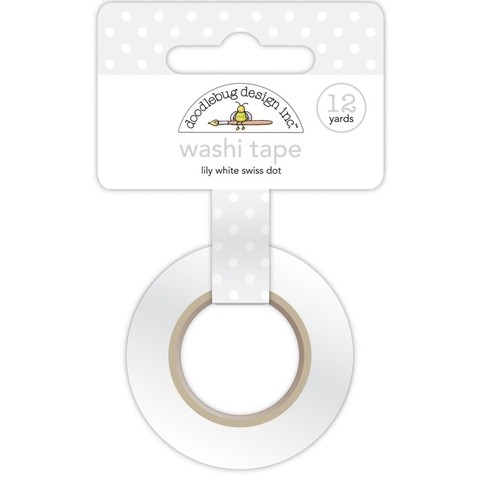 Cinta Decorativa Washi Tape Lily White Swiss Dot Doodlebug