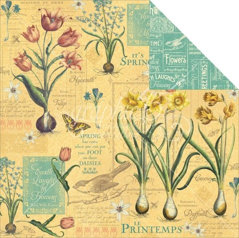 Papel bi-faz April Flourish 30,5 x 30,5 cm de 180 gr