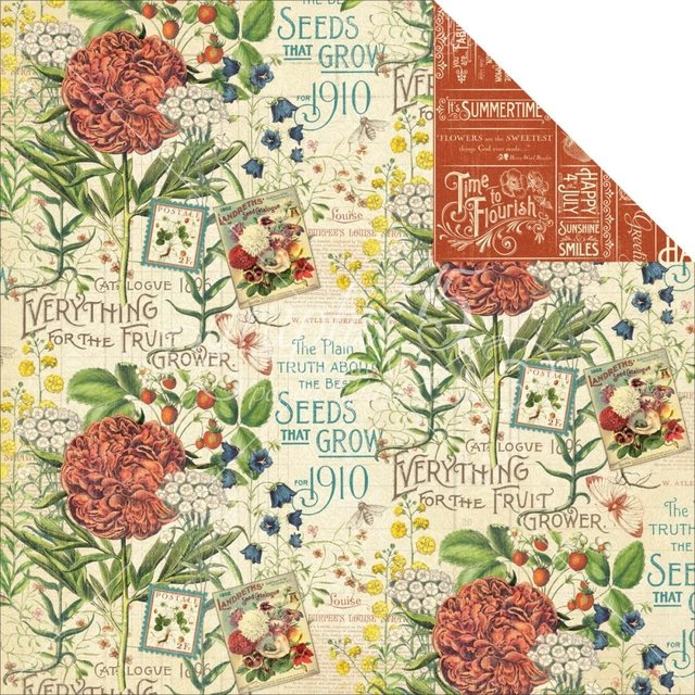 Papel bi-faz July Flourish 30,5 x 30,5 cm de 180 gr
