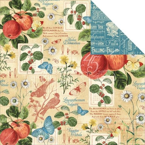 Papel bi-faz September Flourish 30,5 x 30,5 cm de 180 gr