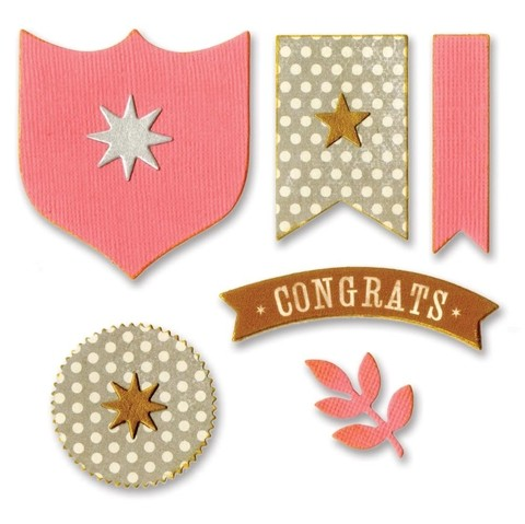 Set de Troqueladoras y sellos Banderines Awards By Brenda Walton Sizzix Thinlits - comprar online