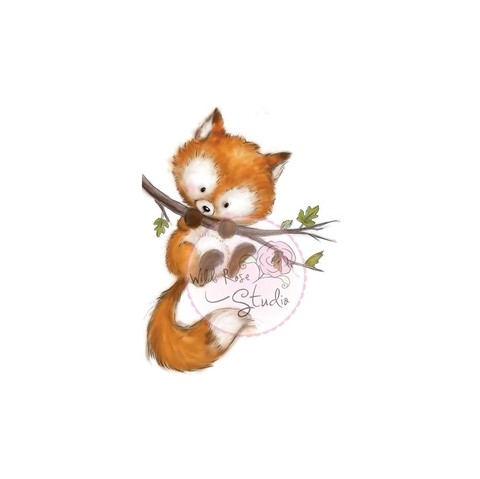 Sello De Zorrito Fox On Branch Wild Rose Studio