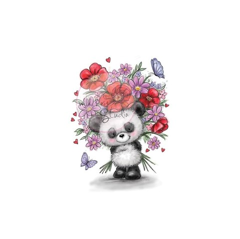 Sello De Panda With Flowers Wild Rose Studio