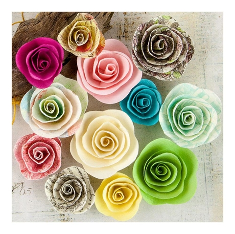 Set de 12 flores Garden Fable Mulberry Paper Flowers Perennial Prima Marketing - comprar online