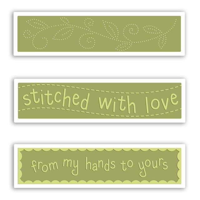Set de 3 carpetas Texturizadoras Embossing Stitched With Love Sizzix - comprar online