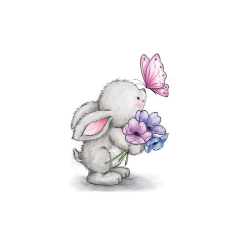 Sello De Conejo Bunny And Butterfly Wild Rose Studio - comprar online