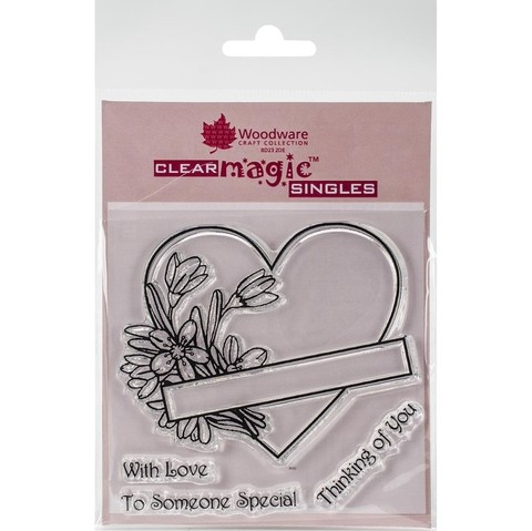 Sello Corazón Floral Heart Woodware Clear Stamps - comprar online