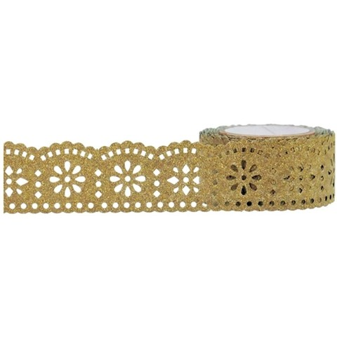 Cinta Decorativa Washi Tape Gold Lace Glitter 25 mm x 5 m - comprar online