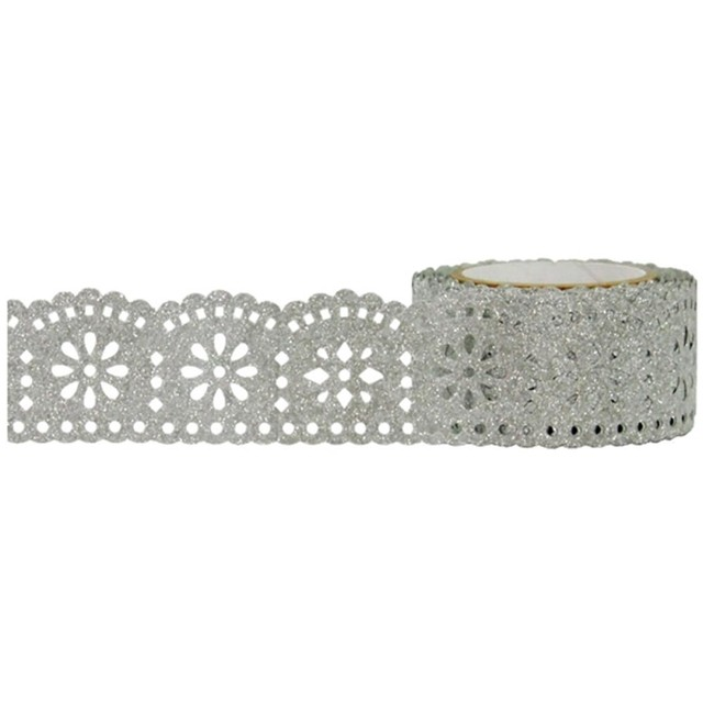 Cinta Decorativa Washi Tape Silver Lace Glitter 25 mm x 5 m - comprar online