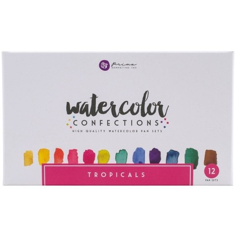 Caja de 12 colores tropicales de acuarelas Watercolor Pans Prima Marketing - comprar online