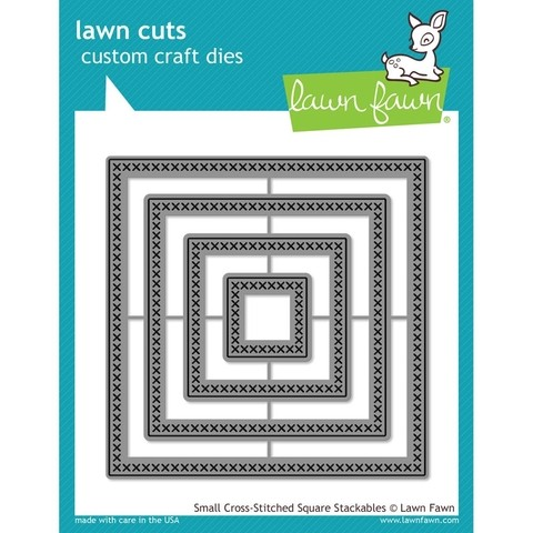 Set de 4 troqueles de Cuadrados Small Cross Stitched Square Lawn Fawn