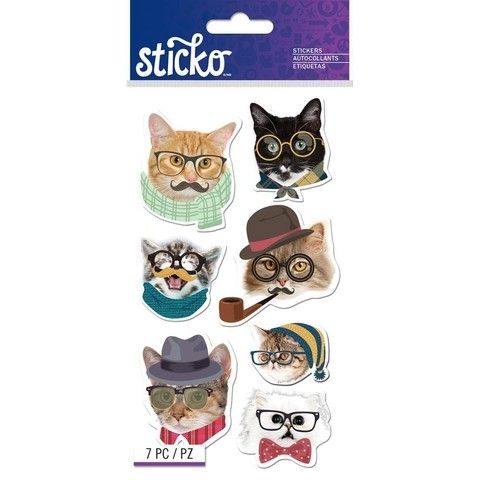 Stickers Gato Hipster Sticko