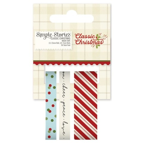 Tres Cintas Decorativas Washi Tape Classic Christmas Simple Stories - comprar online