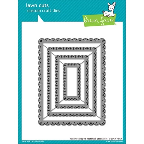 Set de 4 Troqueles de rectángulos Fancy Scalloped Rectangle Lawn Fawn - comprar online