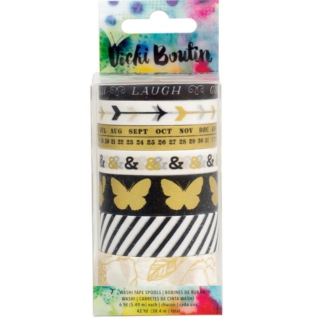Set de 7 Cintas Decorativas Washi Tape Mixed Media Vicky Boutin - comprar online