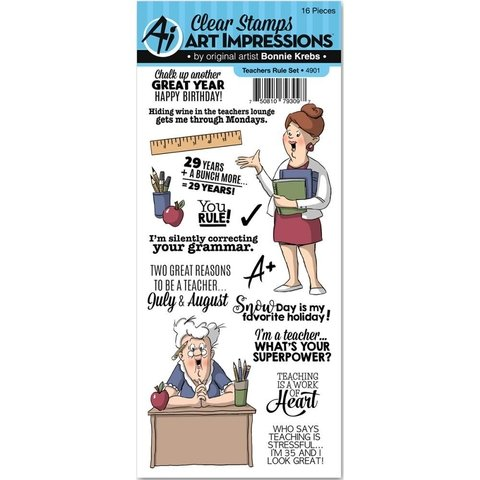 Sello de maestras Teachers Rule Clear Stamp Art Impressions - comprar online