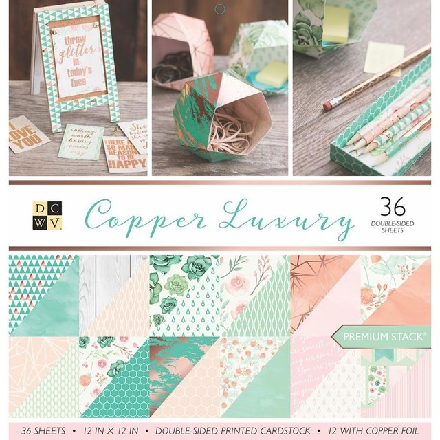 Block Cartulinas 36 hojas Para Scrap 30x30 DCWV Copper Luxury - comprar online