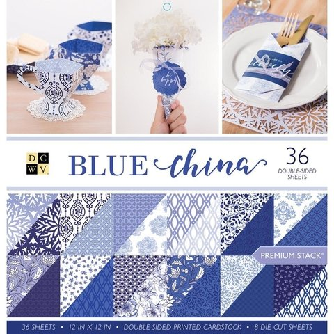 Block Cartulinas 36 hojas Para Scrap 30x30 DCWV Blue China