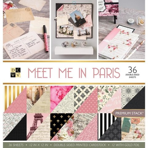 Block Cartulinas 36 hojas Para Scrap 30x30 DCWV Meet me in Paris