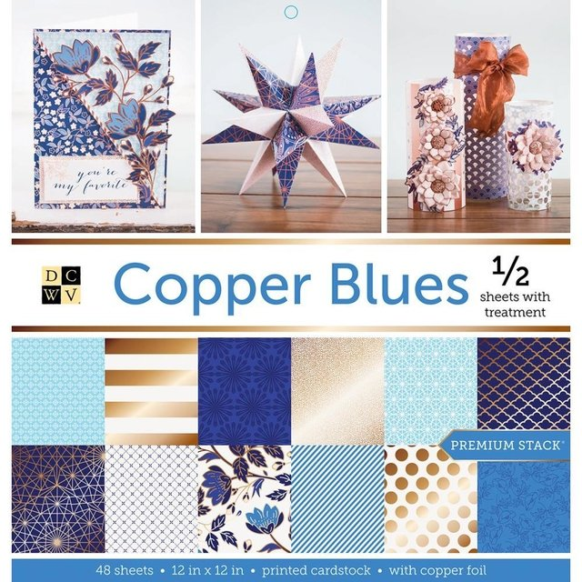 Block Cartulinas 36 hojas Para Scrap 30x30 DCWV Copper Blues - comprar online