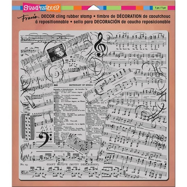Sello Partitura Music Cling Stamp Stampendous - comprar online