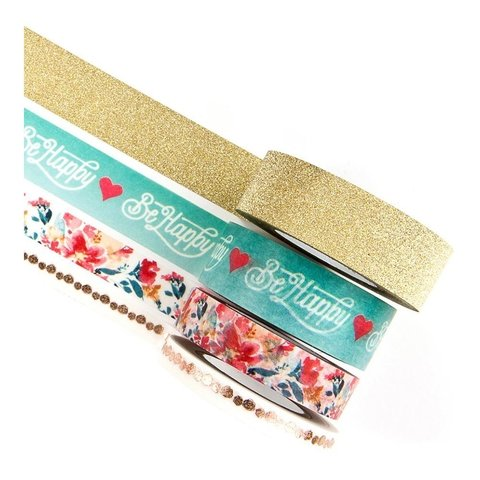 Set de 4 Cintas Decorativas Washi Tape Be Happy Prima Marketing - comprar online