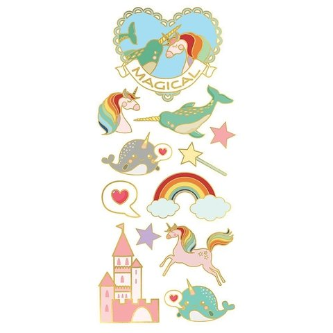 Plancha de Stickers Unicorns, Narwhals and Castles Paper House