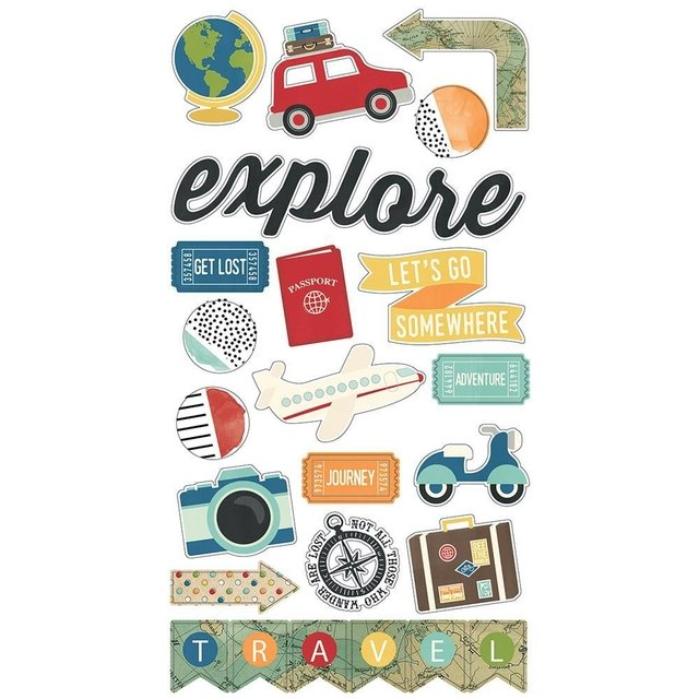 Stickers Travel Notes de Chipboard Simple Stories - comprar online
