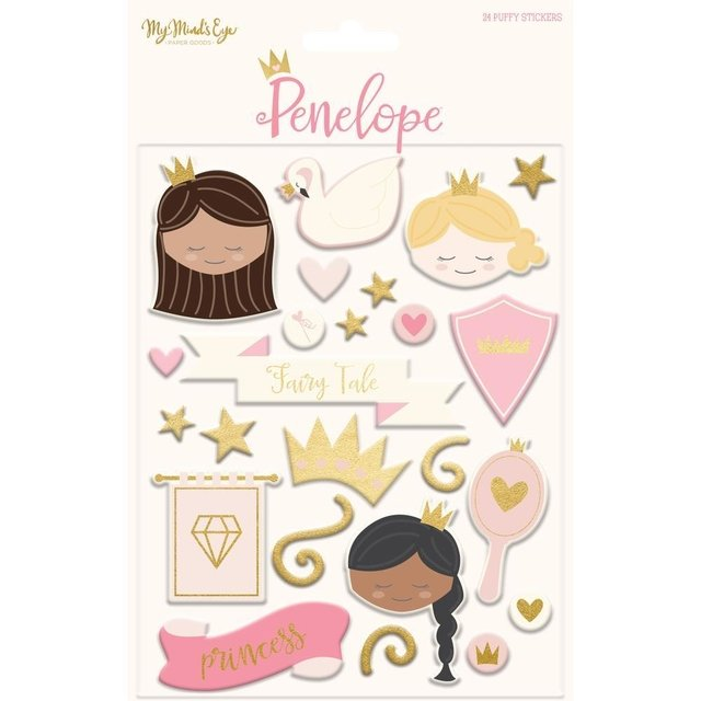 Stickers Tridimensionales de Princesas Penelope My Minds Eye - comprar online