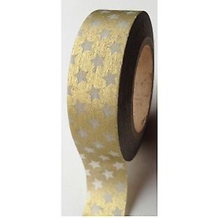 Cinta Decorativa Washi Tape Gold With White Stars
