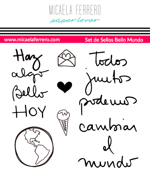 Set de Sellos Bello Mundo Micaela Ferrero Paper Lover