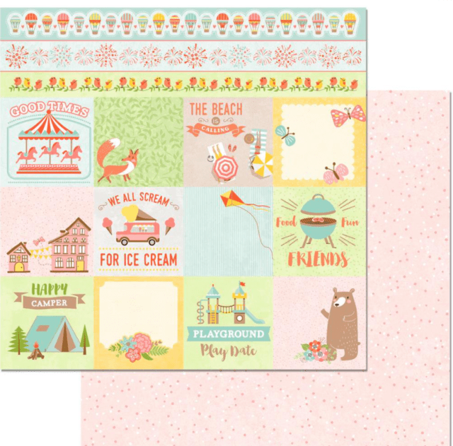 Papel bi-faz Week End Adventures Bear Hug BoBunny 30,5 x 30,5 cm de 180 - comprar online