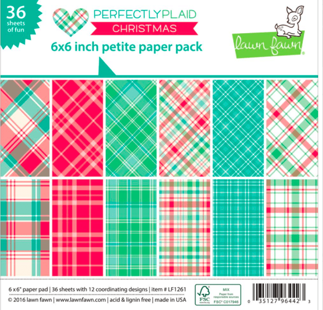 Block Papel Para Scrap 15 x 15 Perfectly Plaid Christmas Lawn Fawn - comprar online