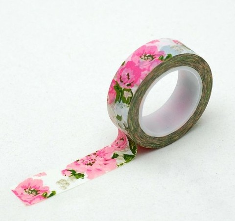 Cinta Decorativa Washi Tape Flores Antique