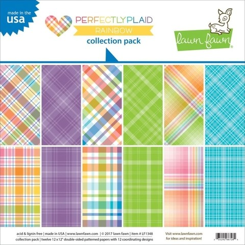 Block Papel Para Scrap 30 x 30 Perfectly Plaid Rainbow Lawn Fawn - comprar online