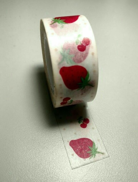 Cinta Decorativa Washi Tape frutillas y cerezas - comprar online